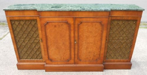 Narrow, Walnut Breakfront Sideboard with Faux Marble Top